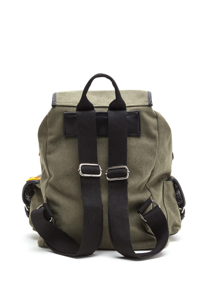 Road Tripper Patch Canvas Backpack OLIVE