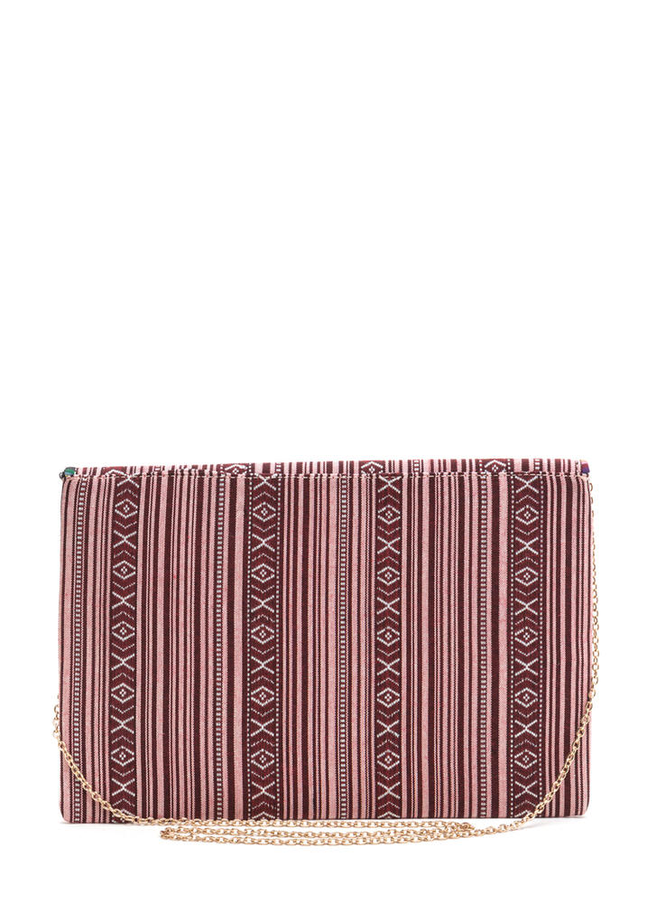 Faraway Place Woven Envelope Clutch WINE