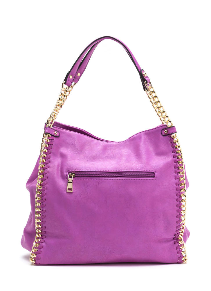 Chain Gang Faux Leather Tote Bag MAGENTA
