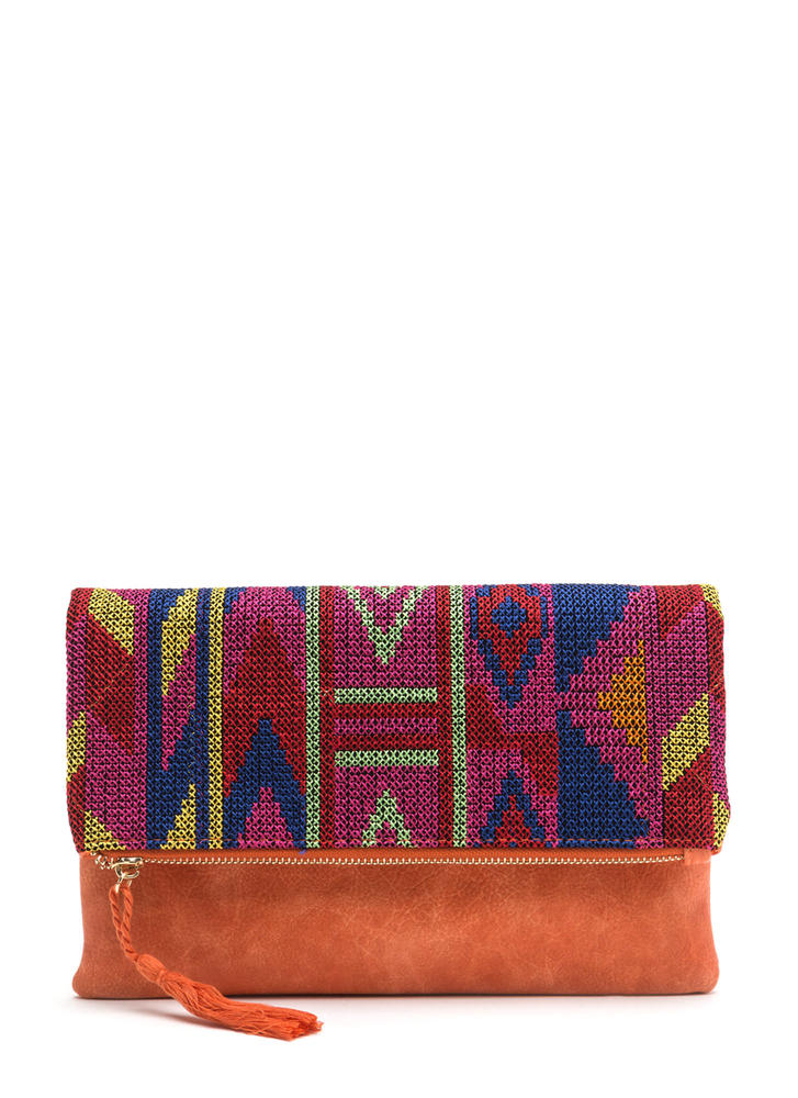 Tap Into Tapestry Woven Foldover Clutch