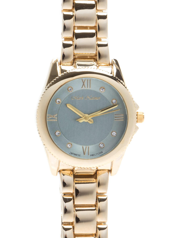 Time's Up Scalloped Rhinestone Watch GREYGOLD