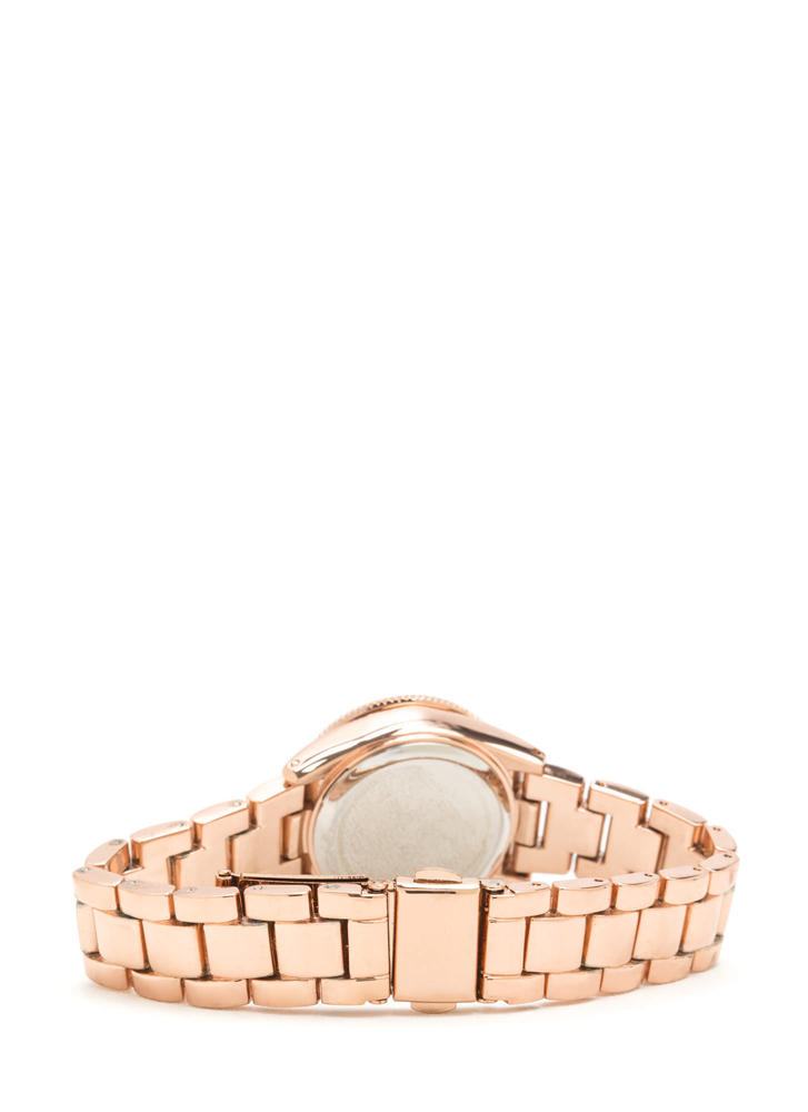 Time's Up Scalloped Rhinestone Watch ROSEGOLD