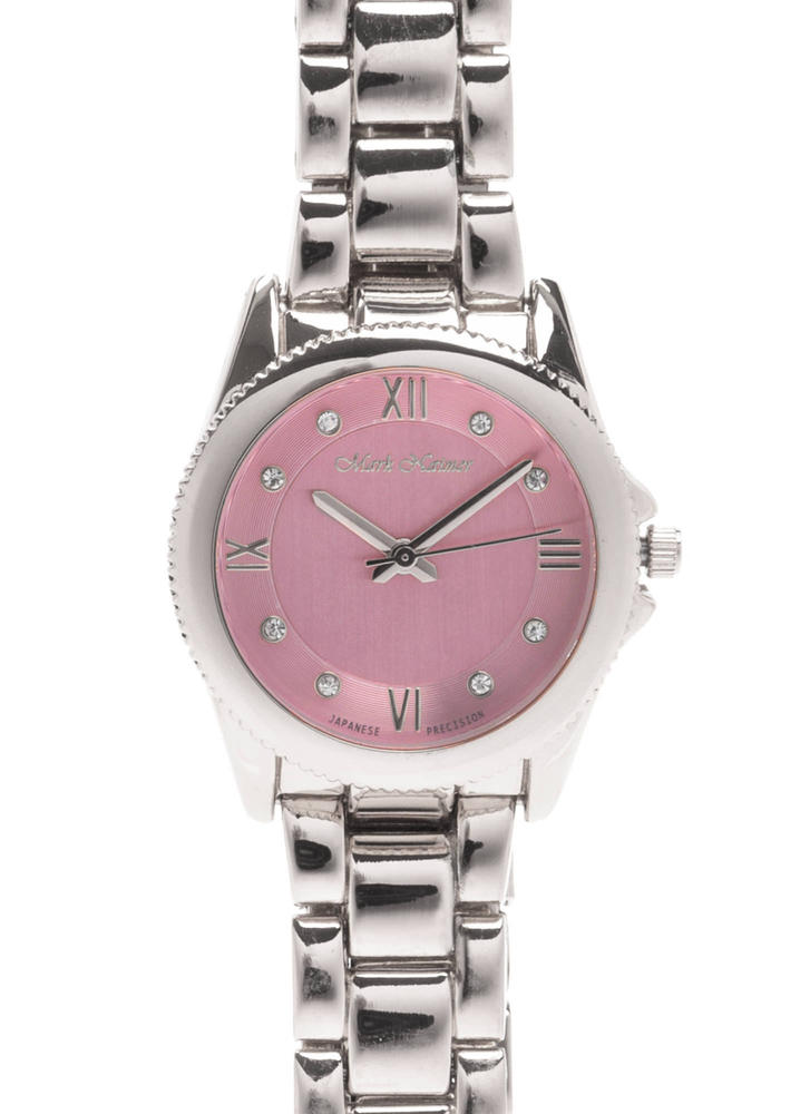 Time's Up Scalloped Rhinestone Watch ROSESILVER