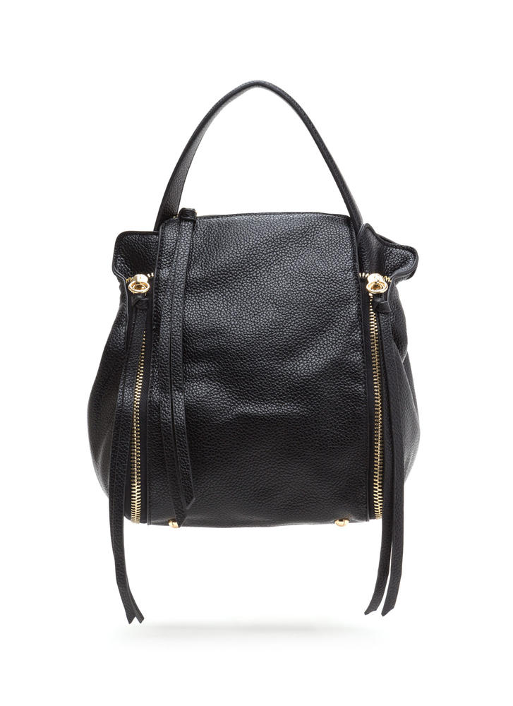 Seize The Day Faux Leather Backpack BLACK