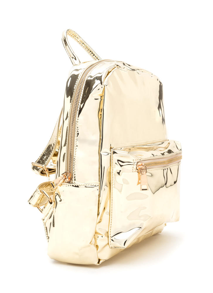 Too Cool For School Metallic Backpack GOLD