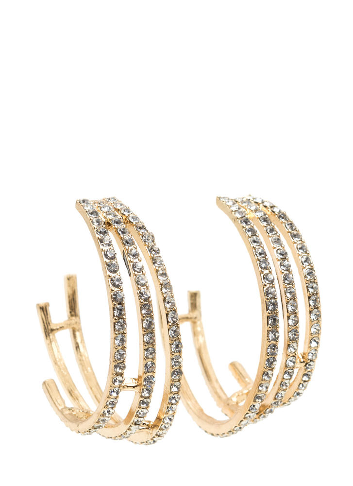 Busy Three Rhinestone Hoop Earrings