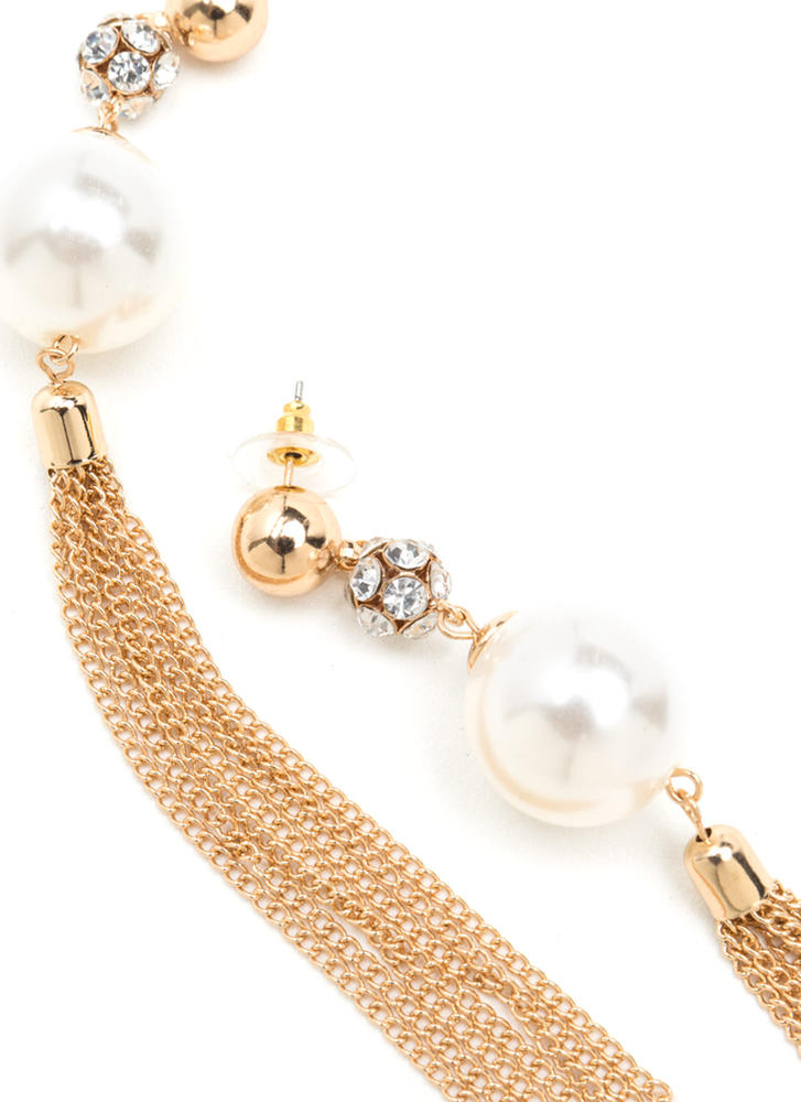 Evening Party Faux Pearl Tassel Earrings GOLD