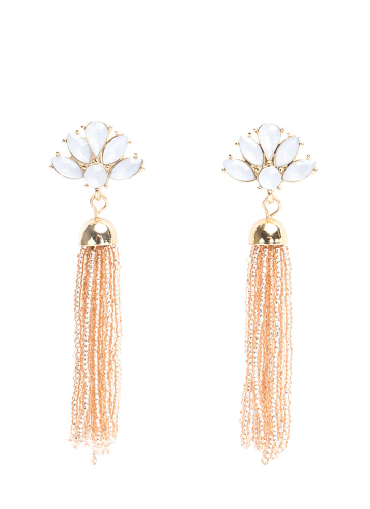 Big Fan Faux Sparkly Tassel Earrings
