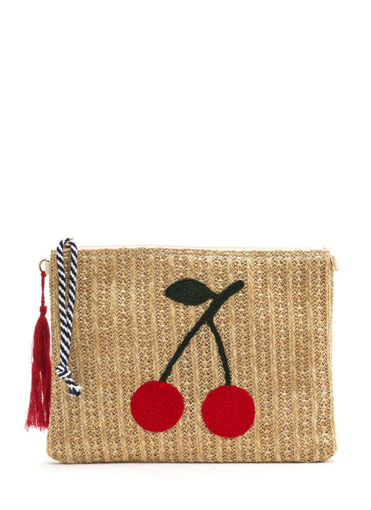 Cherry On Top Woven Rectangle Clutch