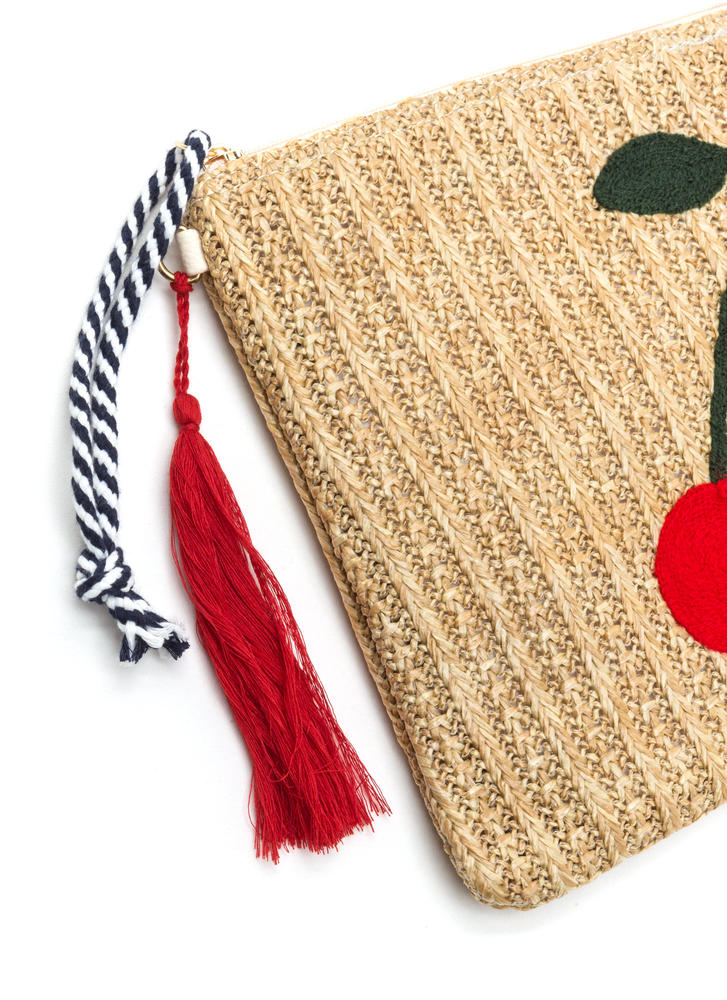 Cherry On Top Woven Rectangle Clutch NATURAL