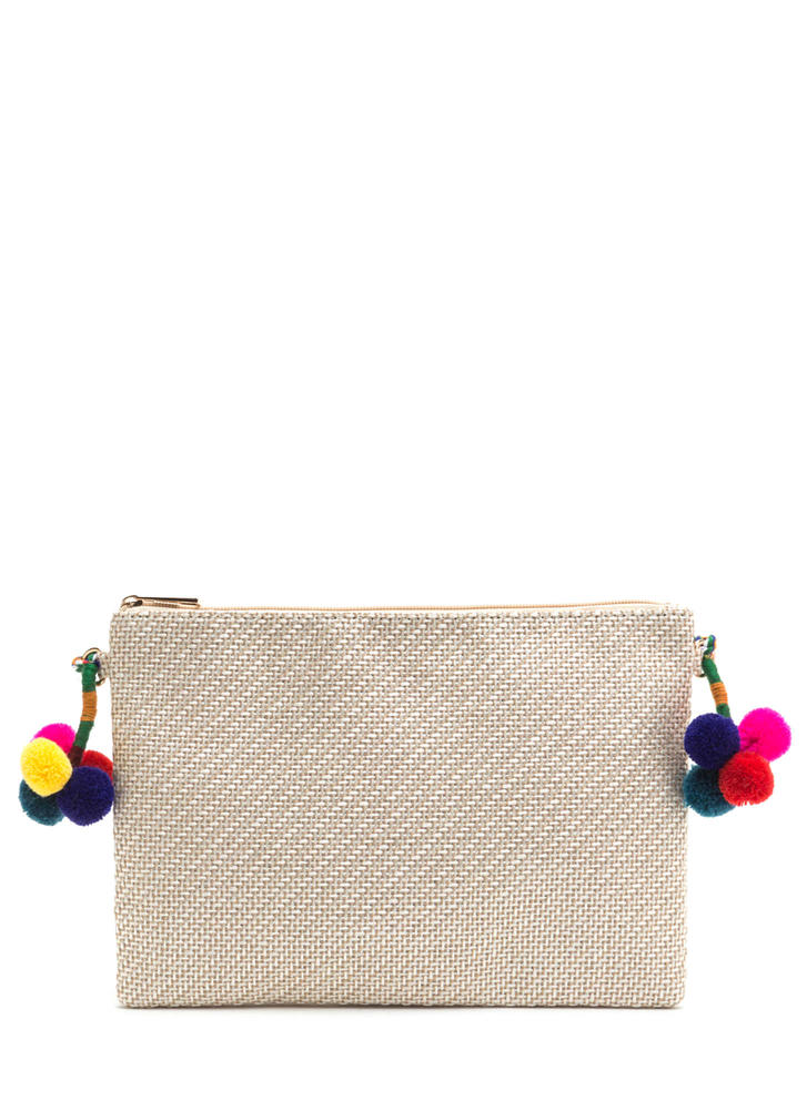 Weave Us Pom-Pom Crossbody Bag