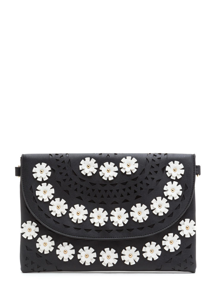 Nineties Daisy Chain Cut-Out Clutch BLACK