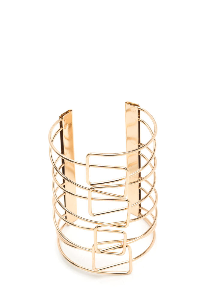 Crossed Wires Linked Bar Cuff GOLD