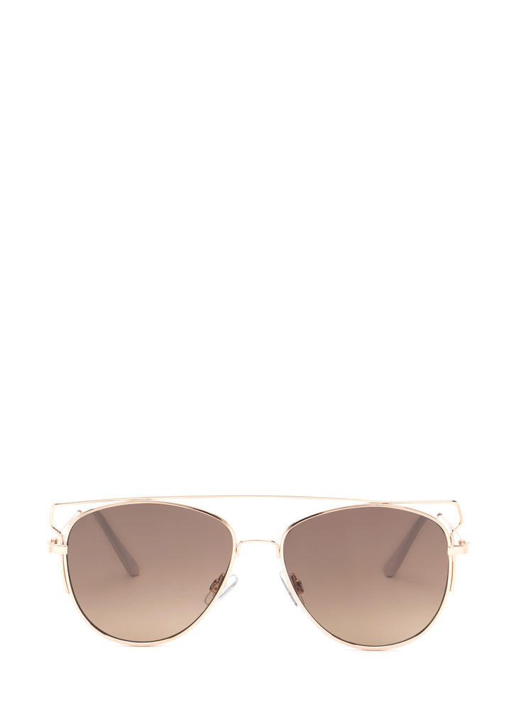 Box Me In Framed Aviator Sunglasses BROWNGOLD