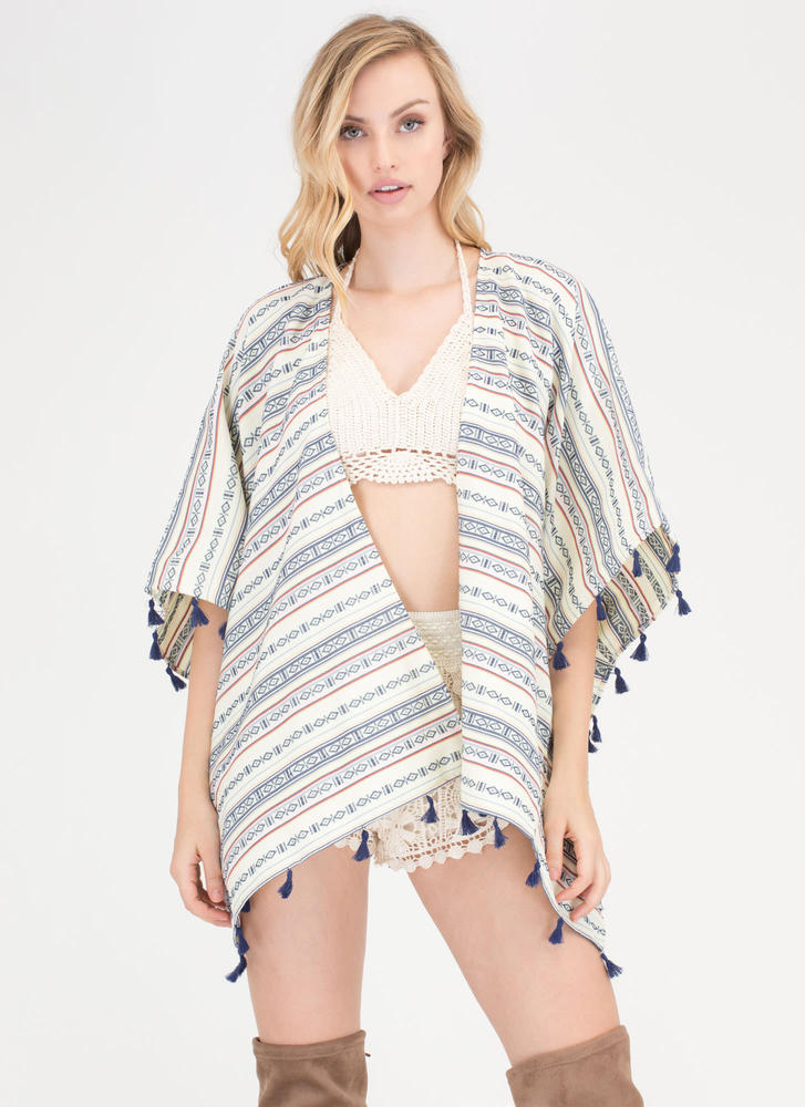 Tribal Quest Tassel Fringe Poncho MULTI