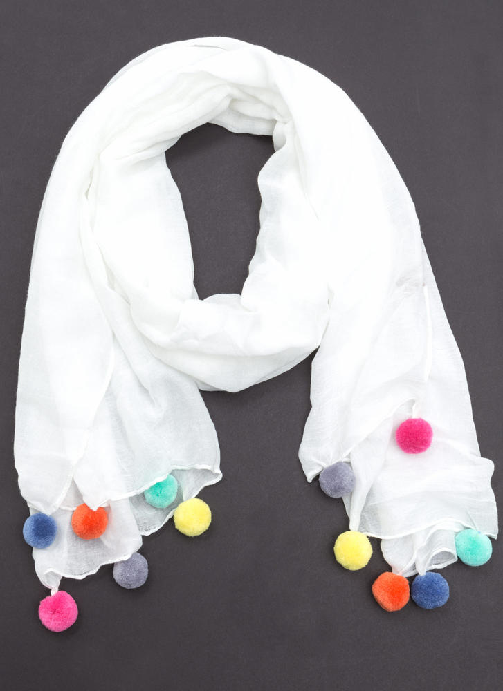 Pom-Pom Reader Wide Scarf WHITE