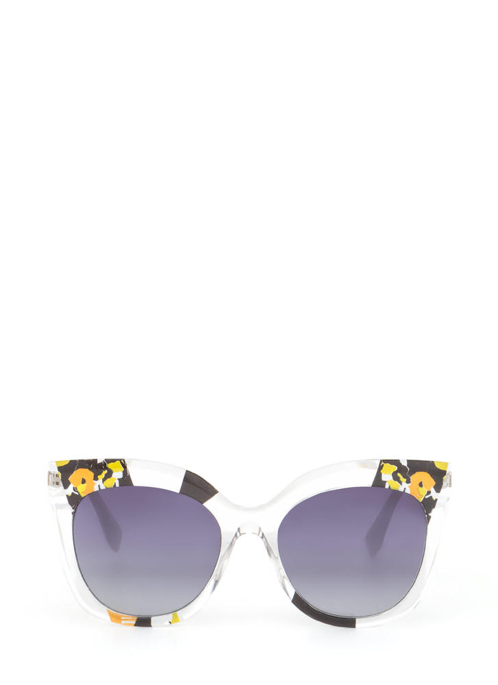 See It All Abstract Floral Sunglasses BLACKMULTI