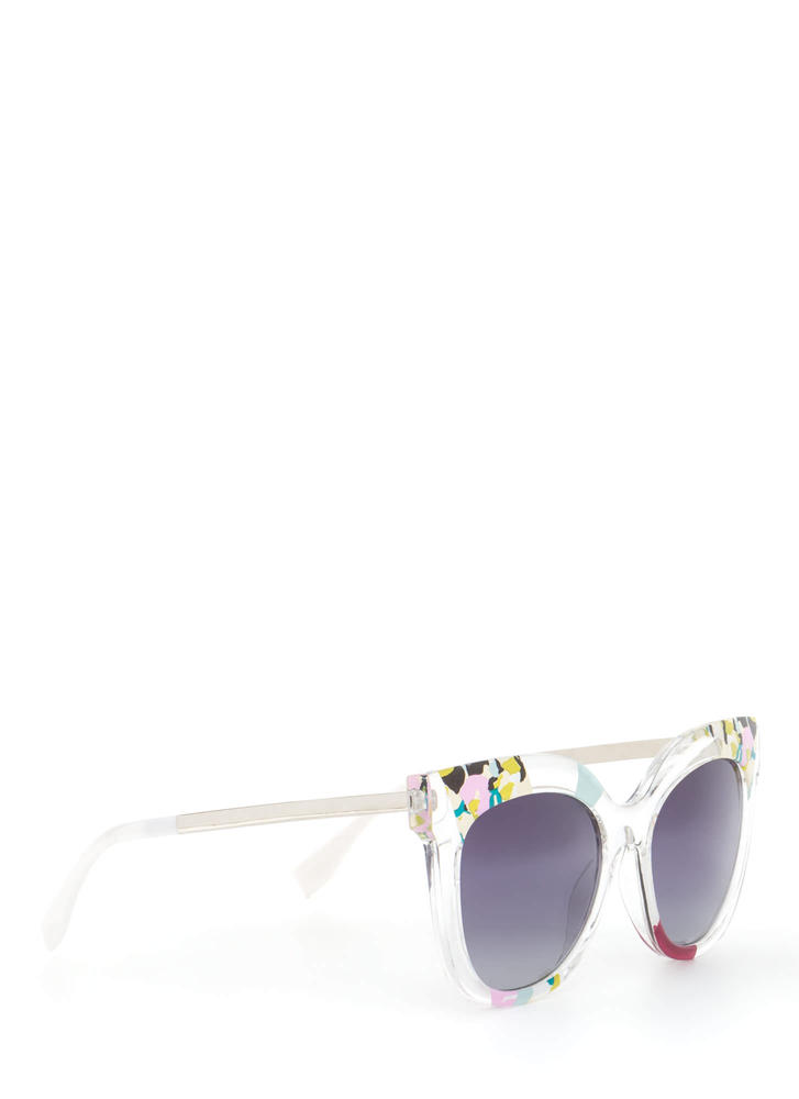 See It All Abstract Floral Sunglasses WINEMULTI