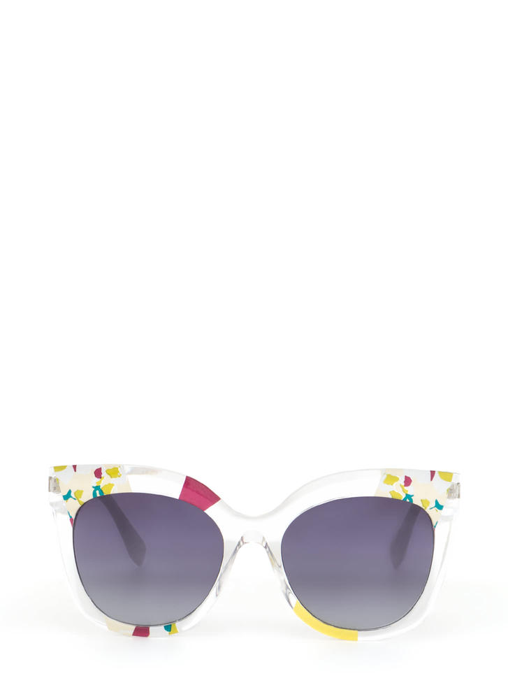 See It All Abstract Floral Sunglasses YELLOWMULTI
