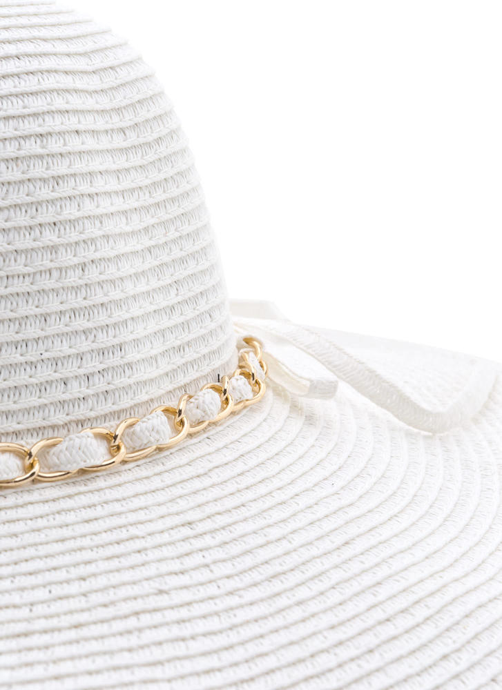 Chain Of Pace Woven Sun Hat WHITE