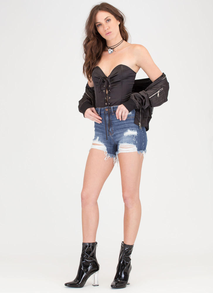 Not A Sweetheart Lace-Up Corset Top BLACK