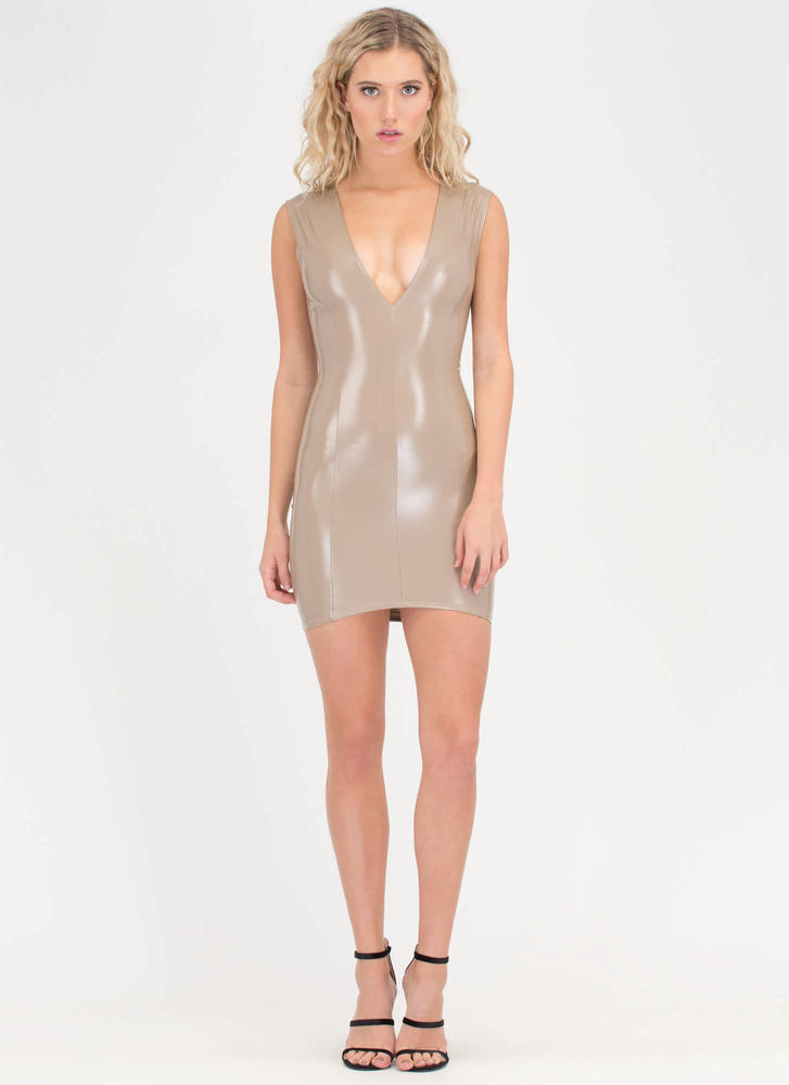 Better In Vinyl Plunging Minidress TAUPE