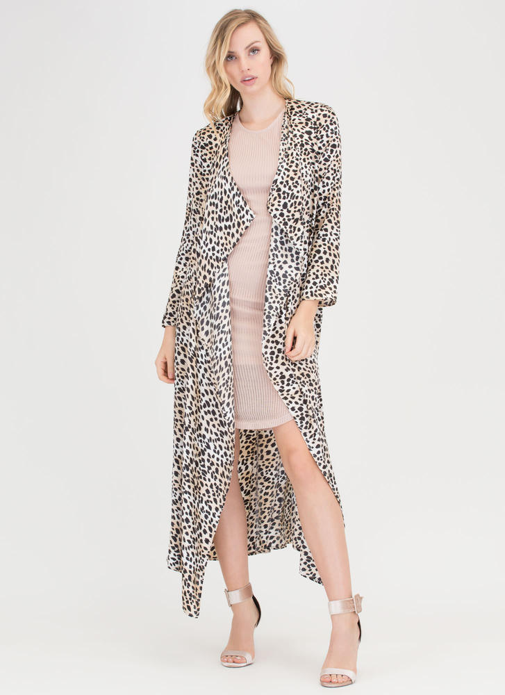 On The Wild Side Leopard Satin Duster TAUPE