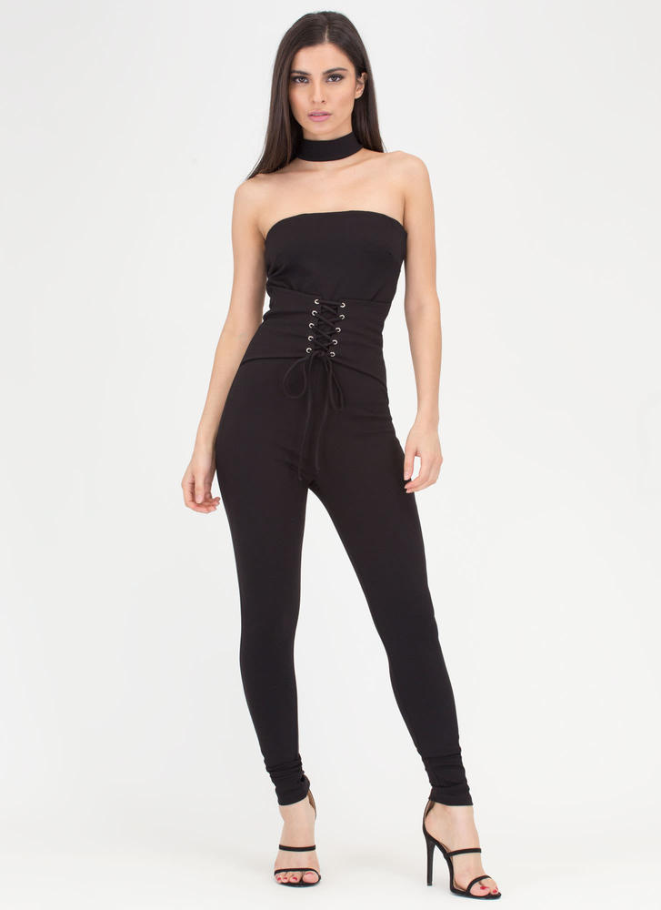 Take A Corset Strapless Choker Jumpsuit BLACK