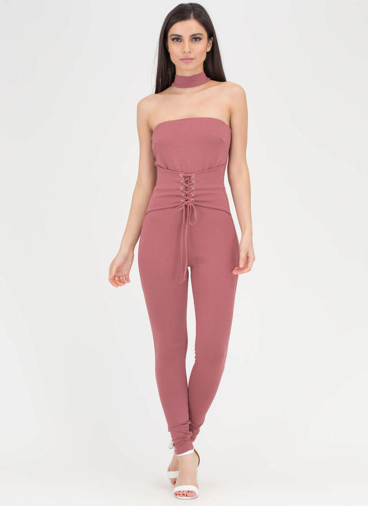 Take A Corset Strapless Choker Jumpsuit
