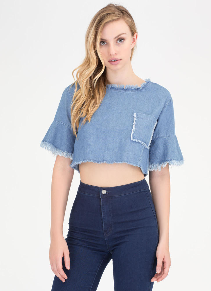 On The Fringe Boxy Denim Crop Top BLUE