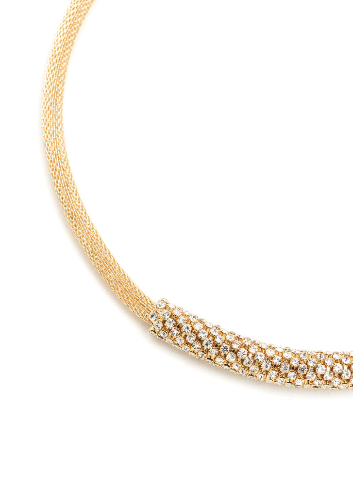 On A Roll Mesh Rhinestone Necklace GOLD