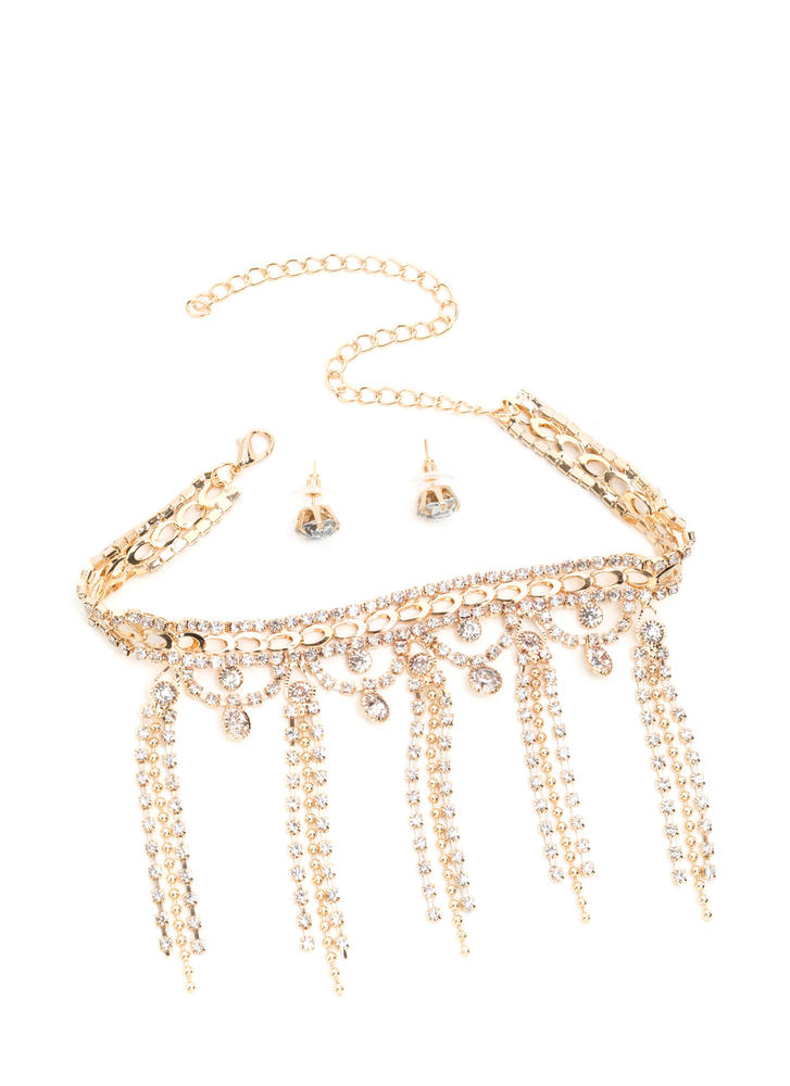 Gem-pire Jeweled Fringe Choker Set
