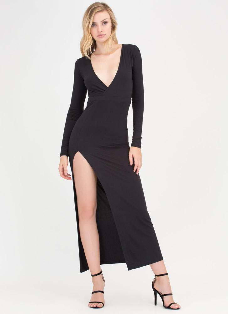 Chic Idea Plunging Slit Maxi Dress BLACK
