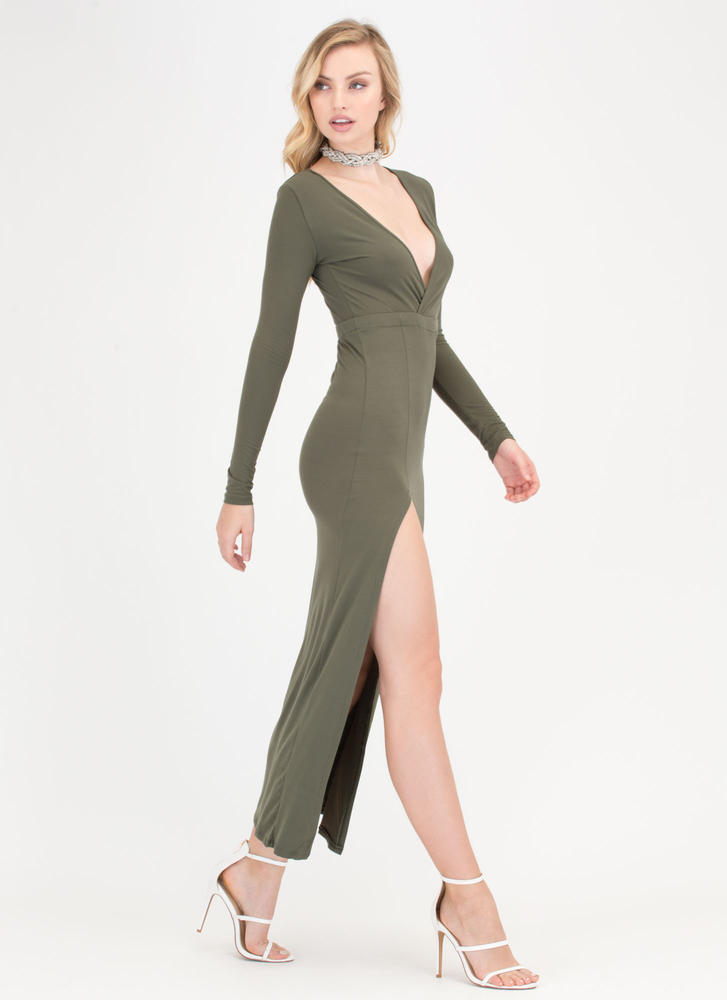 Chic Idea Plunging Slit Maxi Dress OLIVE