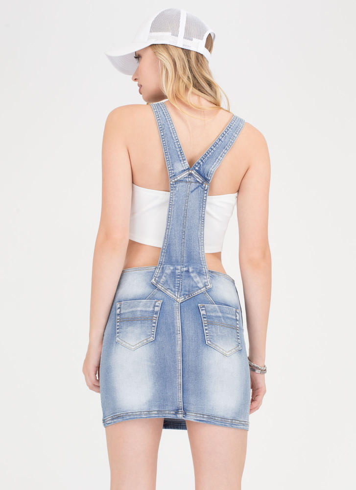 After School Special Jean Skirt Overalls BLUE