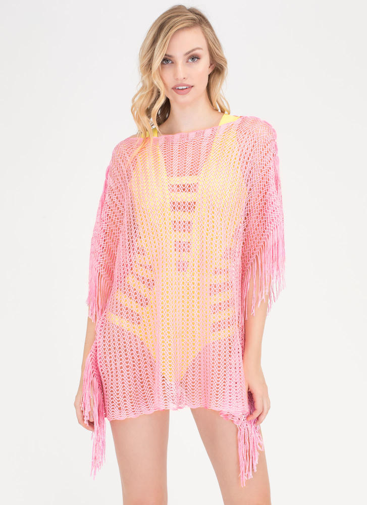Network Knit Poncho Swim Cover-Up PINK