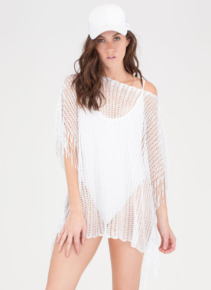 Network Knit Poncho Swim Cover-Up WHITE