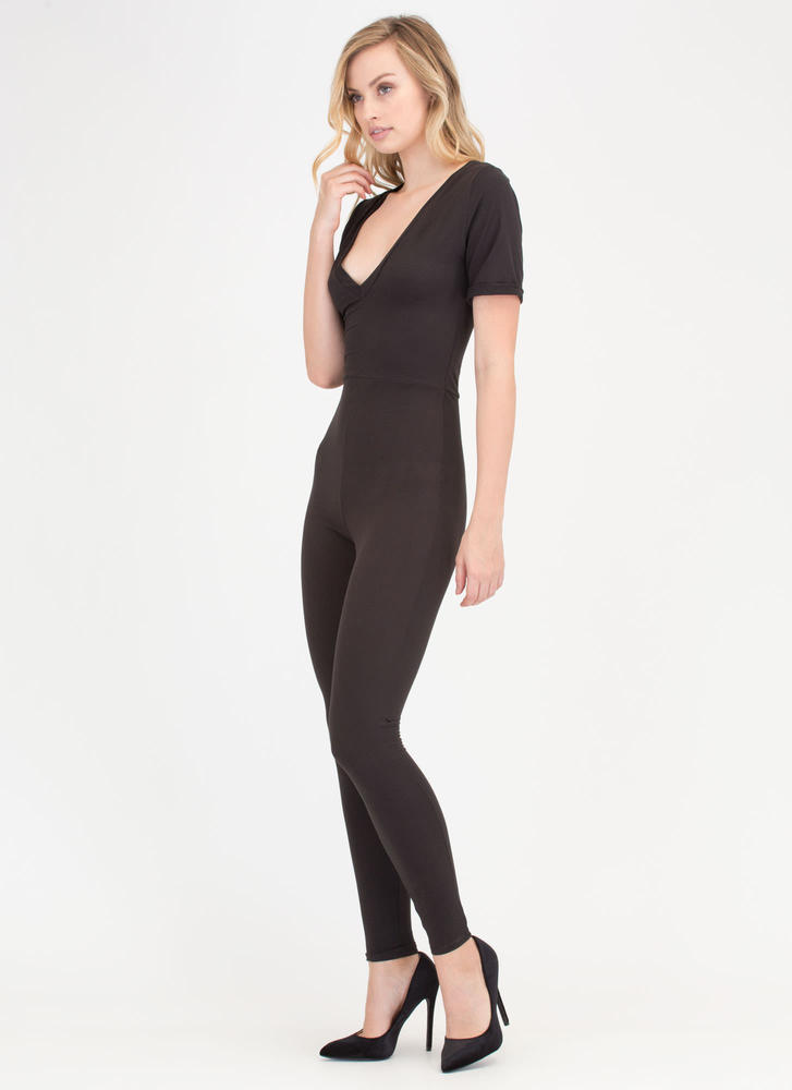 Basically Perfect V-Neck Jumpsuit BLACK (Final Sale)