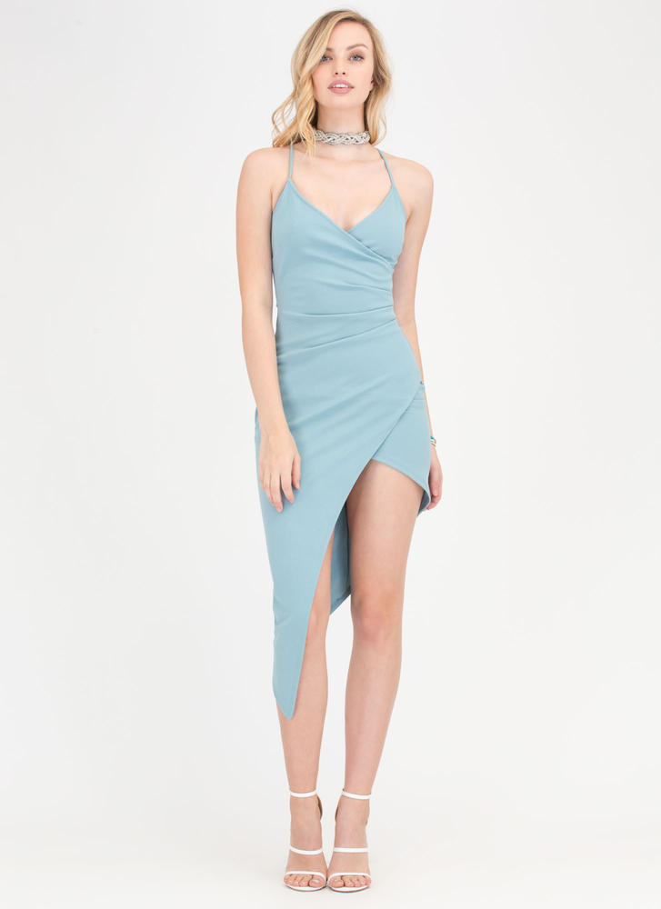 Even Out Asymmetrical Draped Dress