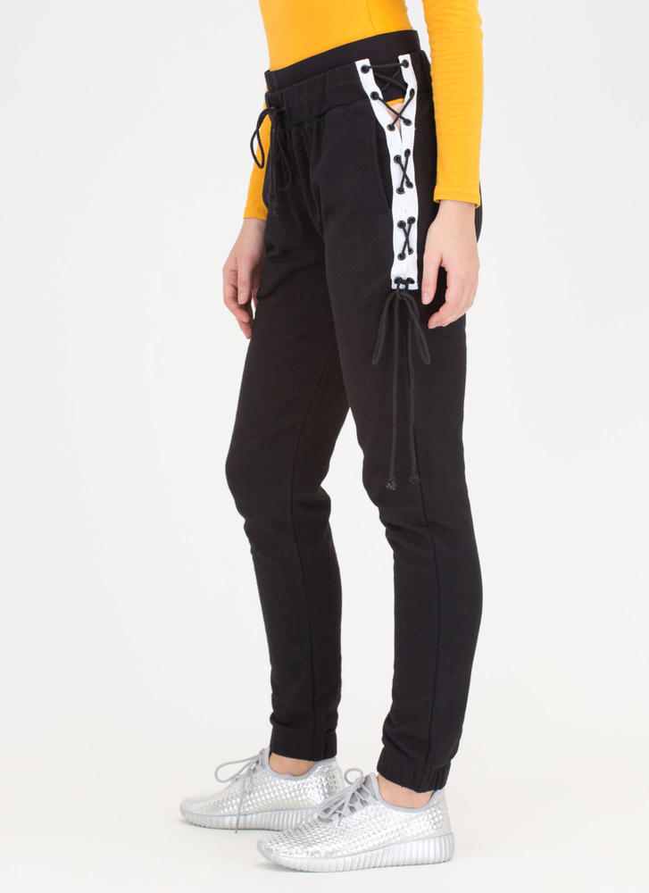 Band Together Laced Side Joggers BLACK