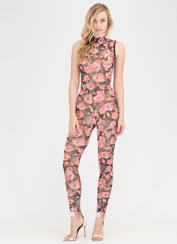 Floral Bliss Sheer Mockneck Jumpsuit PINK