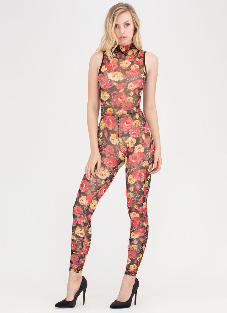 Floral Bliss Sheer Mockneck Jumpsuit RED