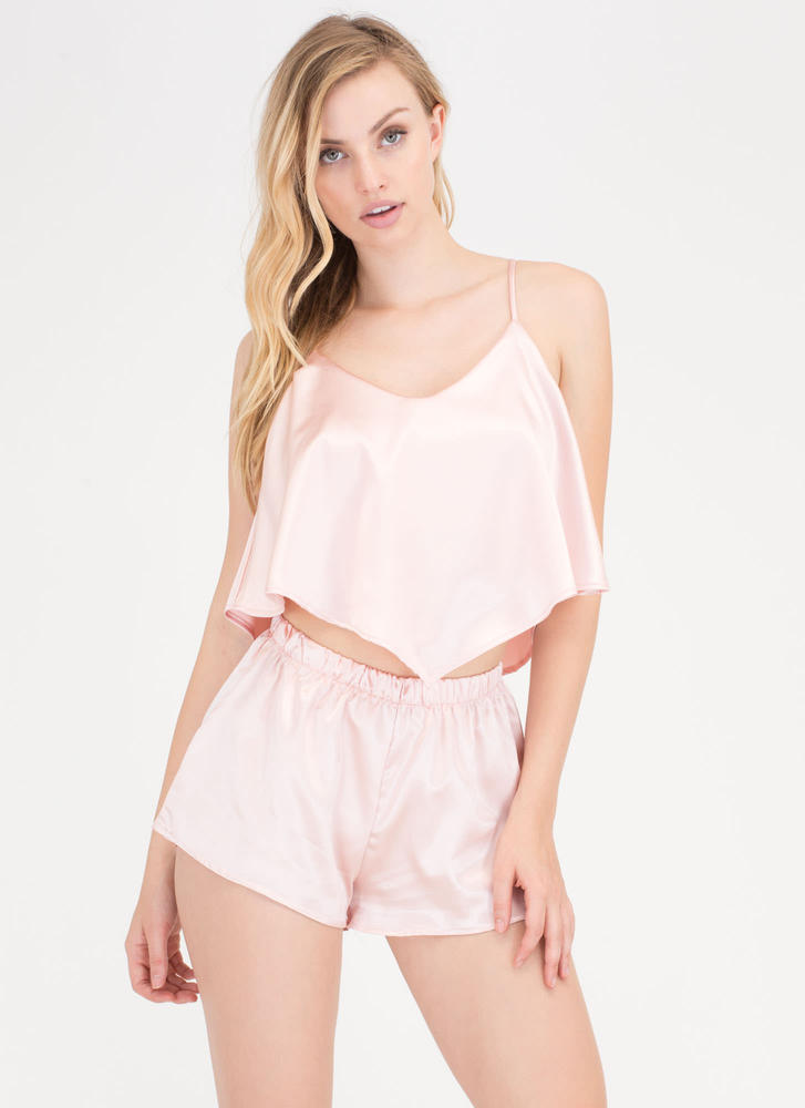 Good Night Flared Top And Shorts Set BLUSH