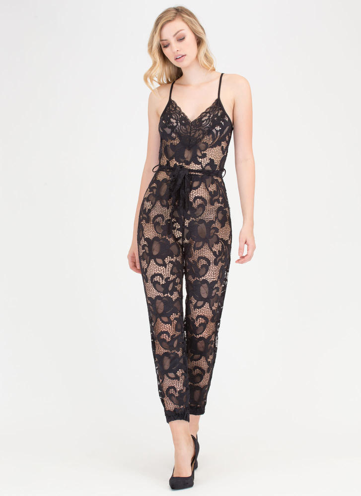 Fresh Flowers Tie-Waist Lace Jumpsuit