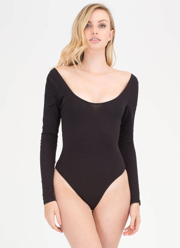 Wide Or Why Not Thong Bodysuit BLACK