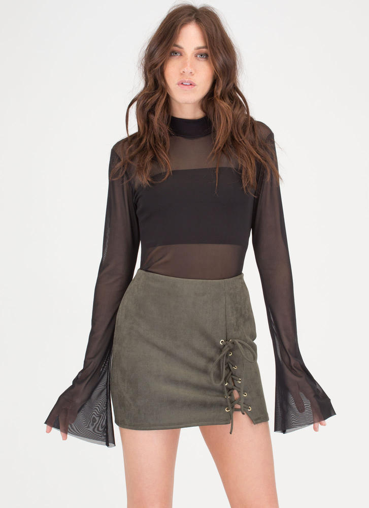 Flare Game Sheer Mesh Bell Sleeve Top