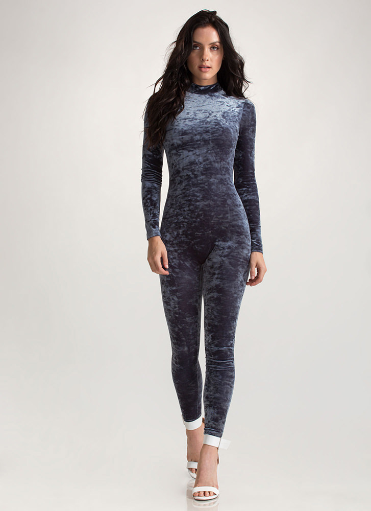 I'm Feeling Crushed Velvet Jumpsuit GREY