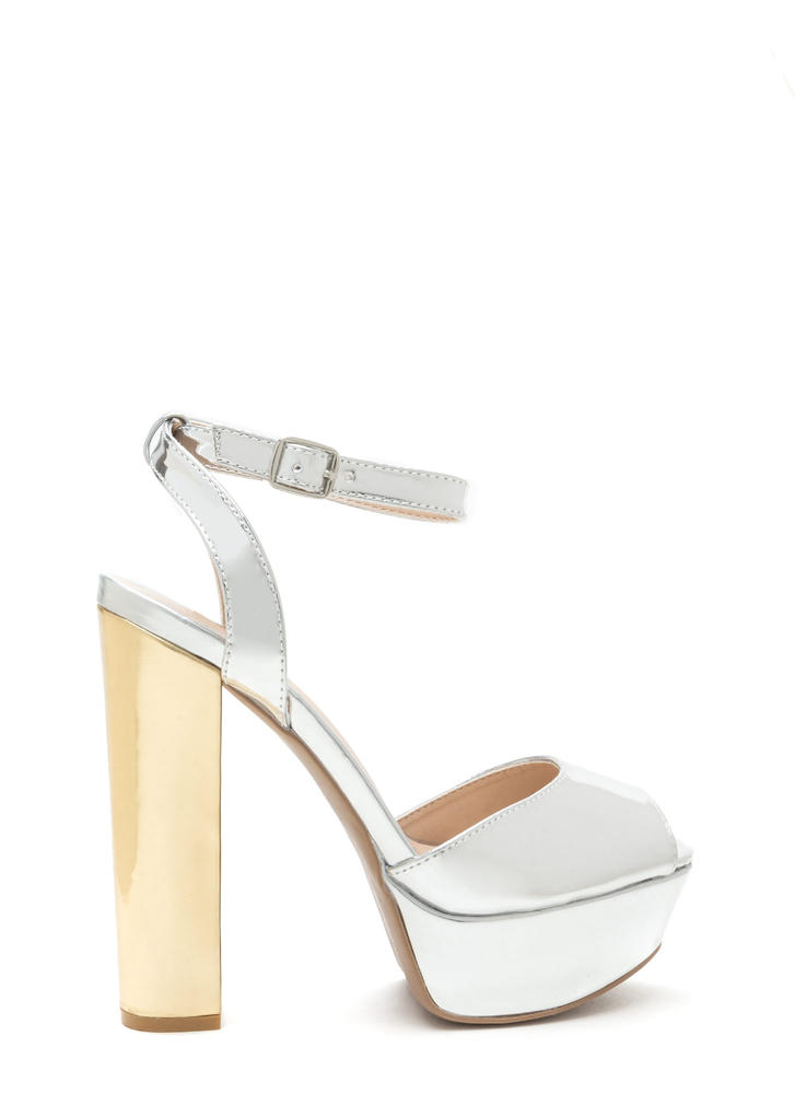 Shine On Me Metallic Peep-Toe Platforms