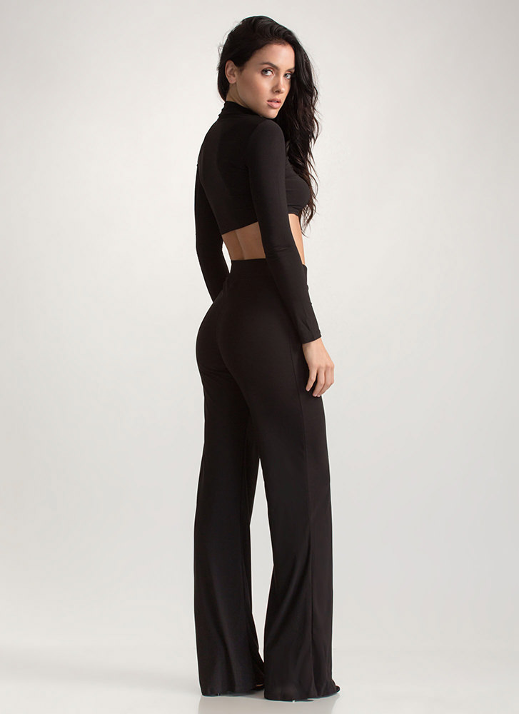 A Little Flare Crop Top And Pant Set BLACK