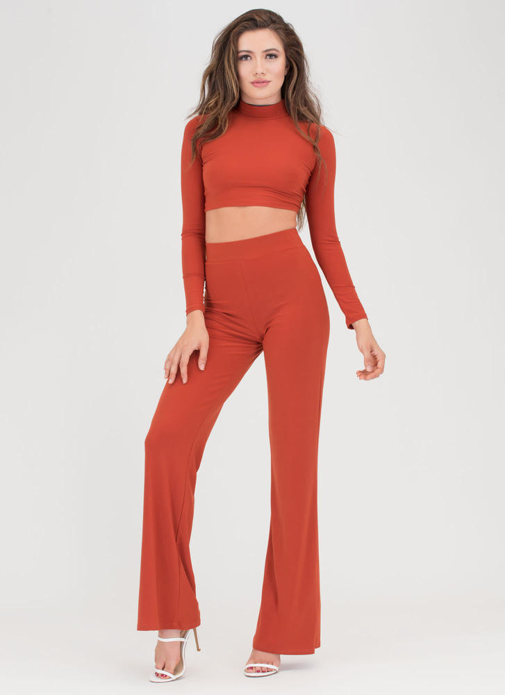 A Little Flare Crop Top And Pant Set RUST